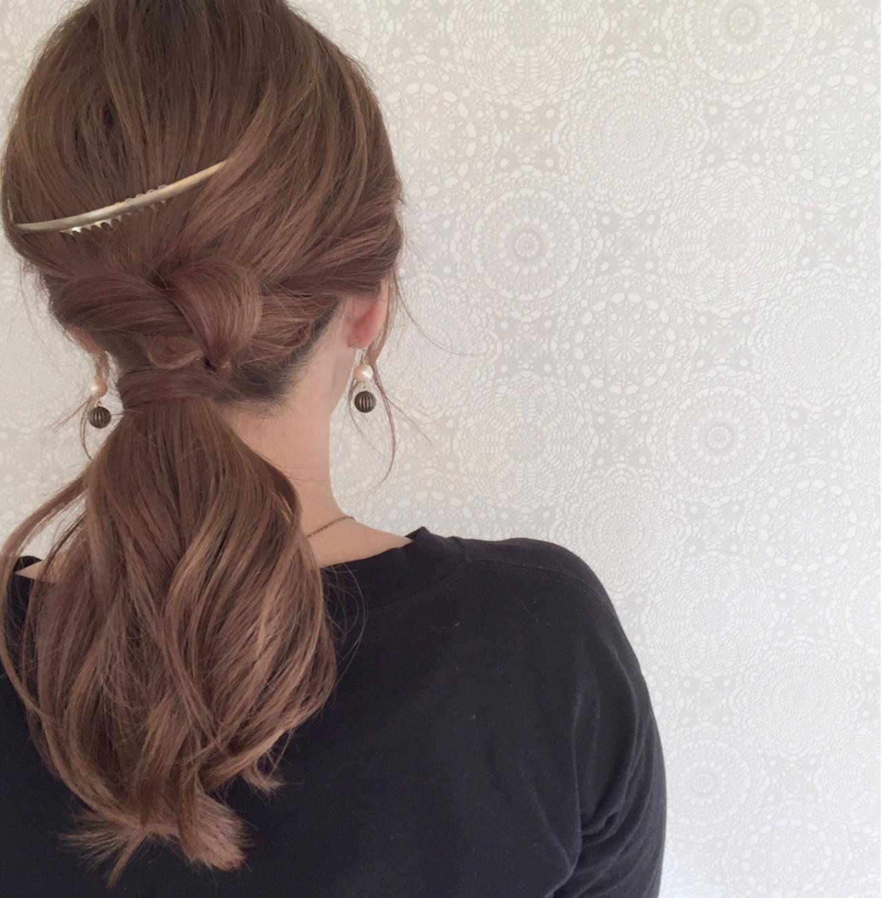 ローポニーテール ショート 簡単ヘアアレンジ 編み込み ヘアスタイルや髪型の写真・画像