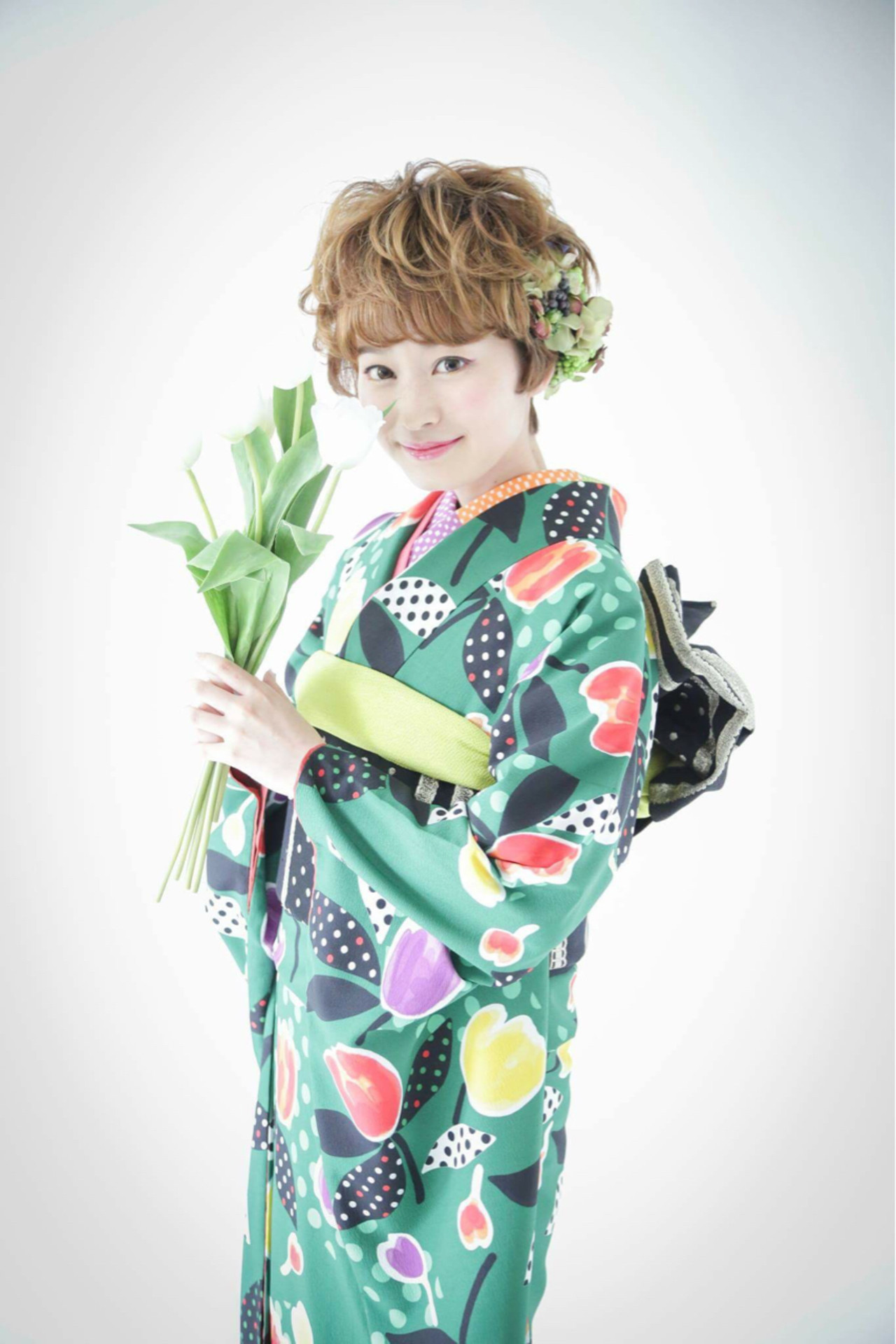 ショート ヘアアレンジ 和装 ガーリー ヘアスタイルや髪型の写真・画像