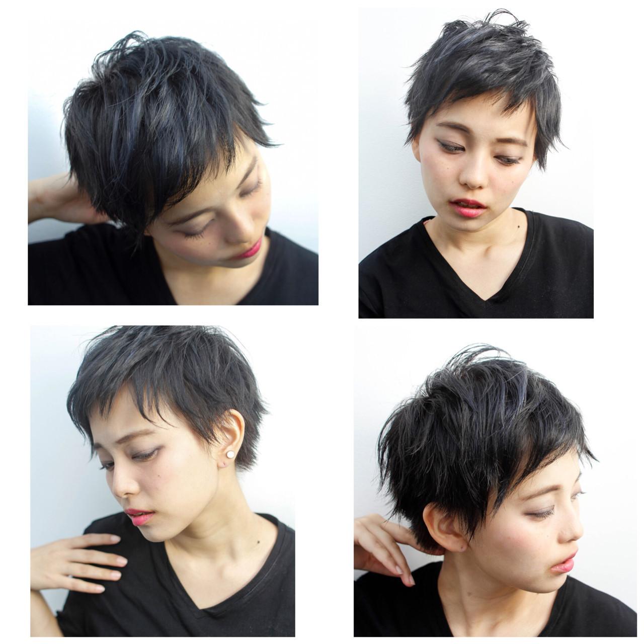 ハイライト グレージュ 暗髪 モード ヘアスタイルや髪型の写真・画像