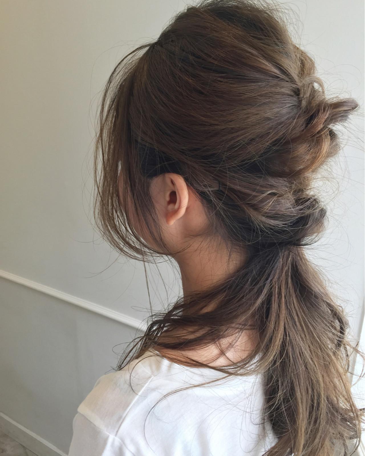 大人かわいい くるりんぱ ゆるふわ 簡単ヘアアレンジ ヘアスタイルや髪型の写真・画像
