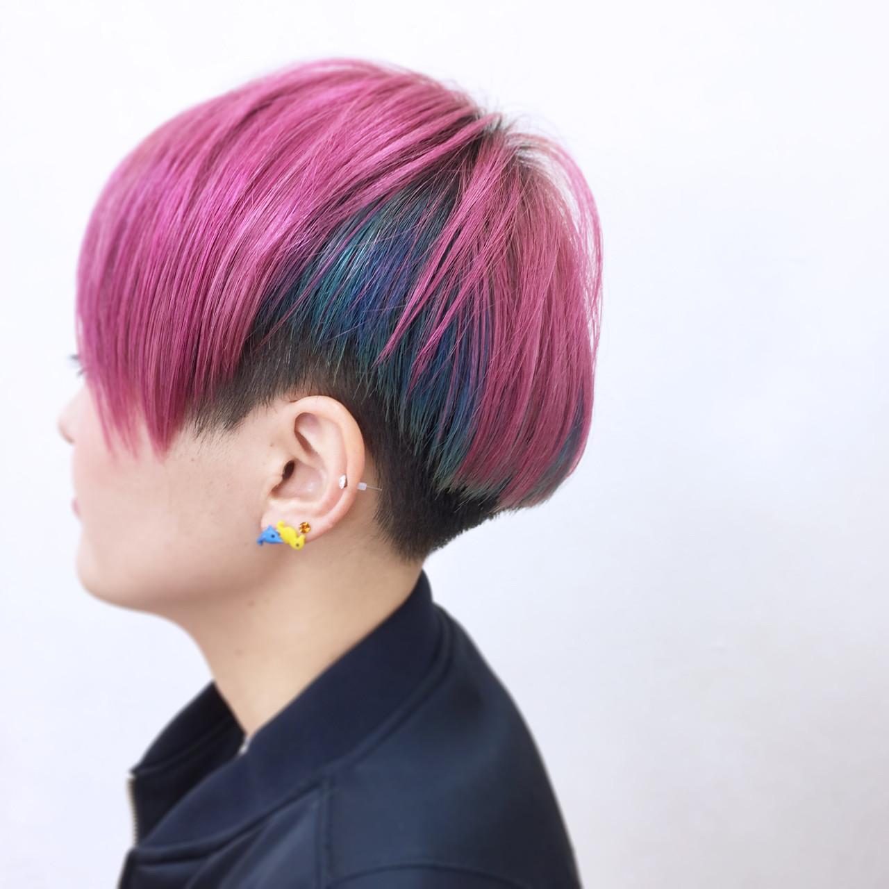 インナーカラー モード ショート ハイトーン ヘアスタイルや髪型の写真・画像