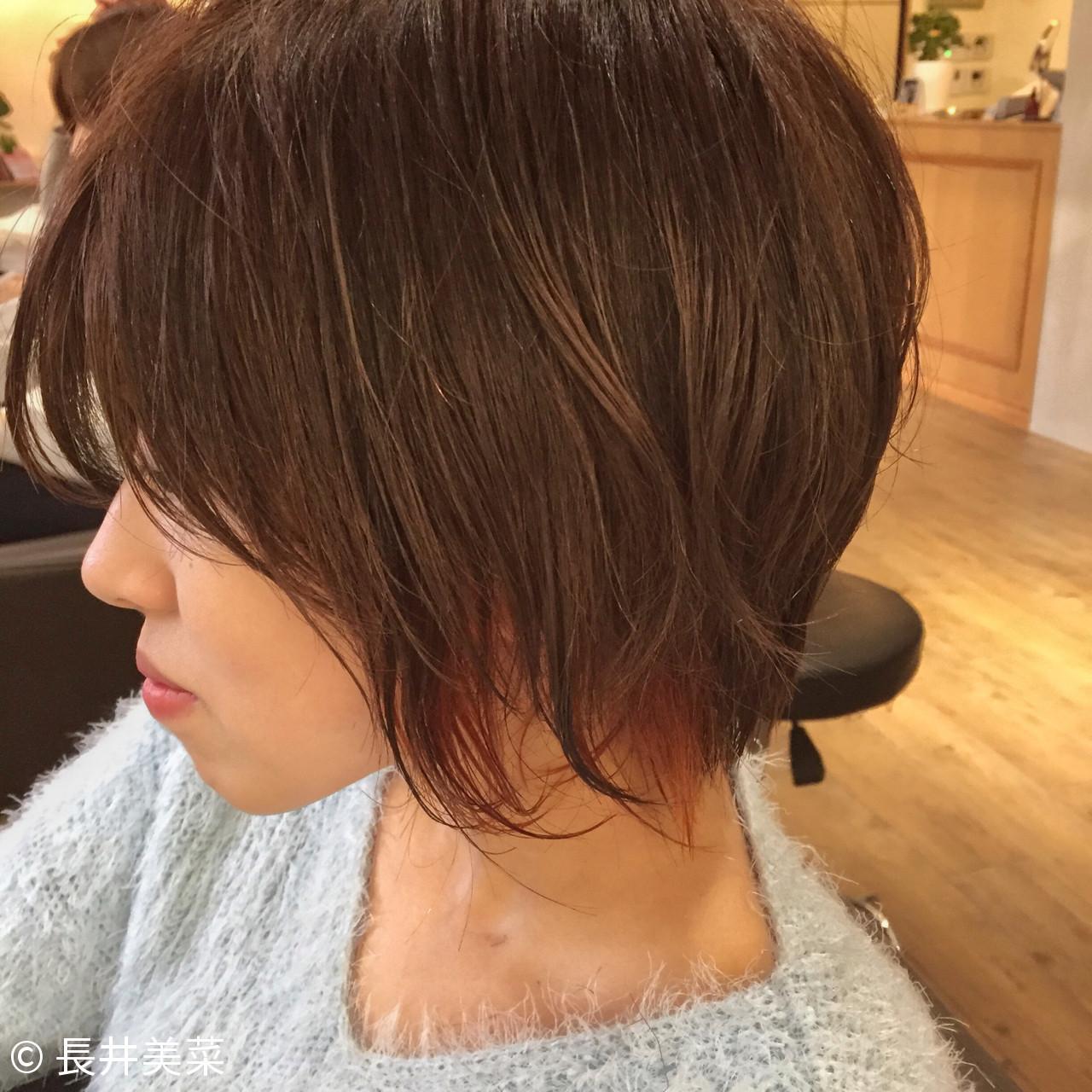 インナーカラー カッパー ショート アプリコットオレンジ ヘアスタイルや髪型の写真・画像