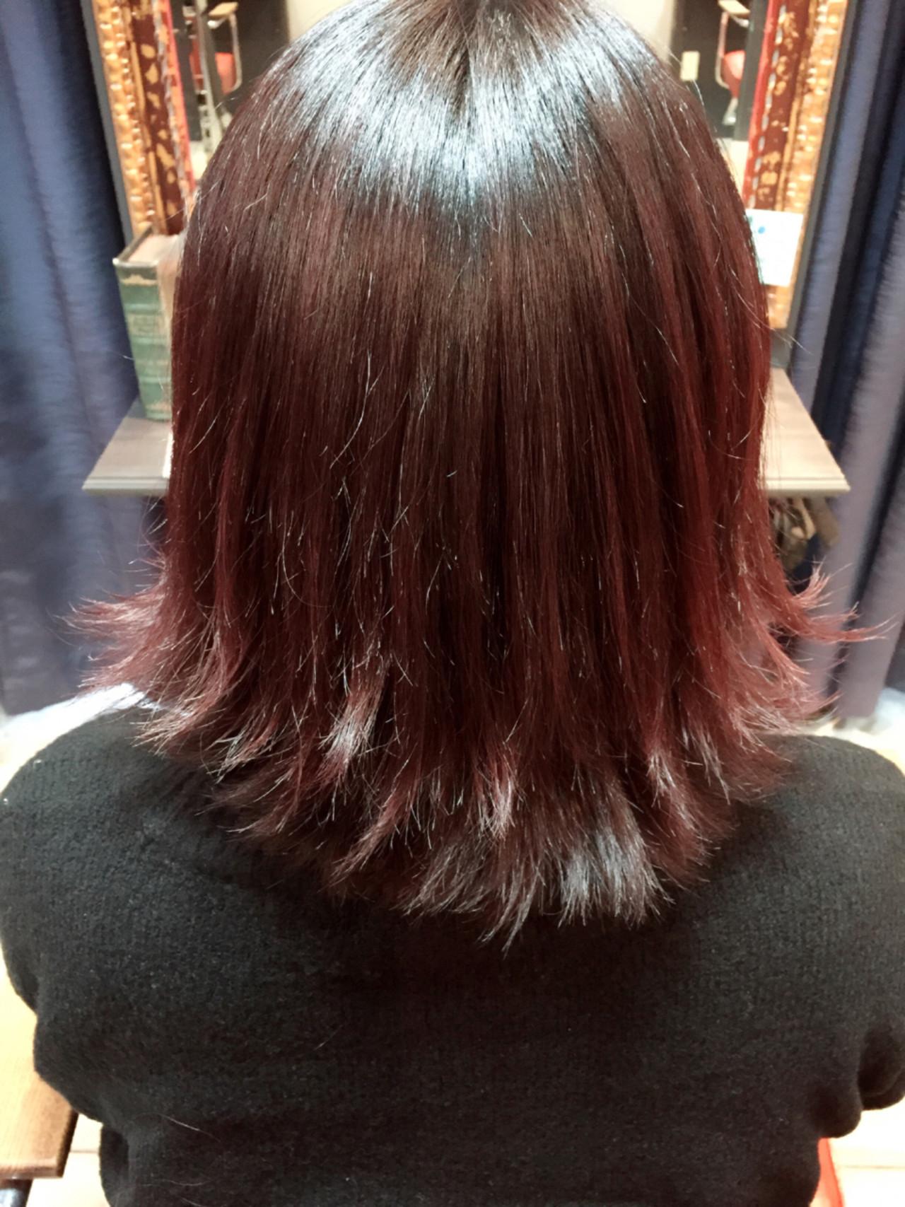 ボブ モード ピンク 外ハネ ヘアスタイルや髪型の写真・画像