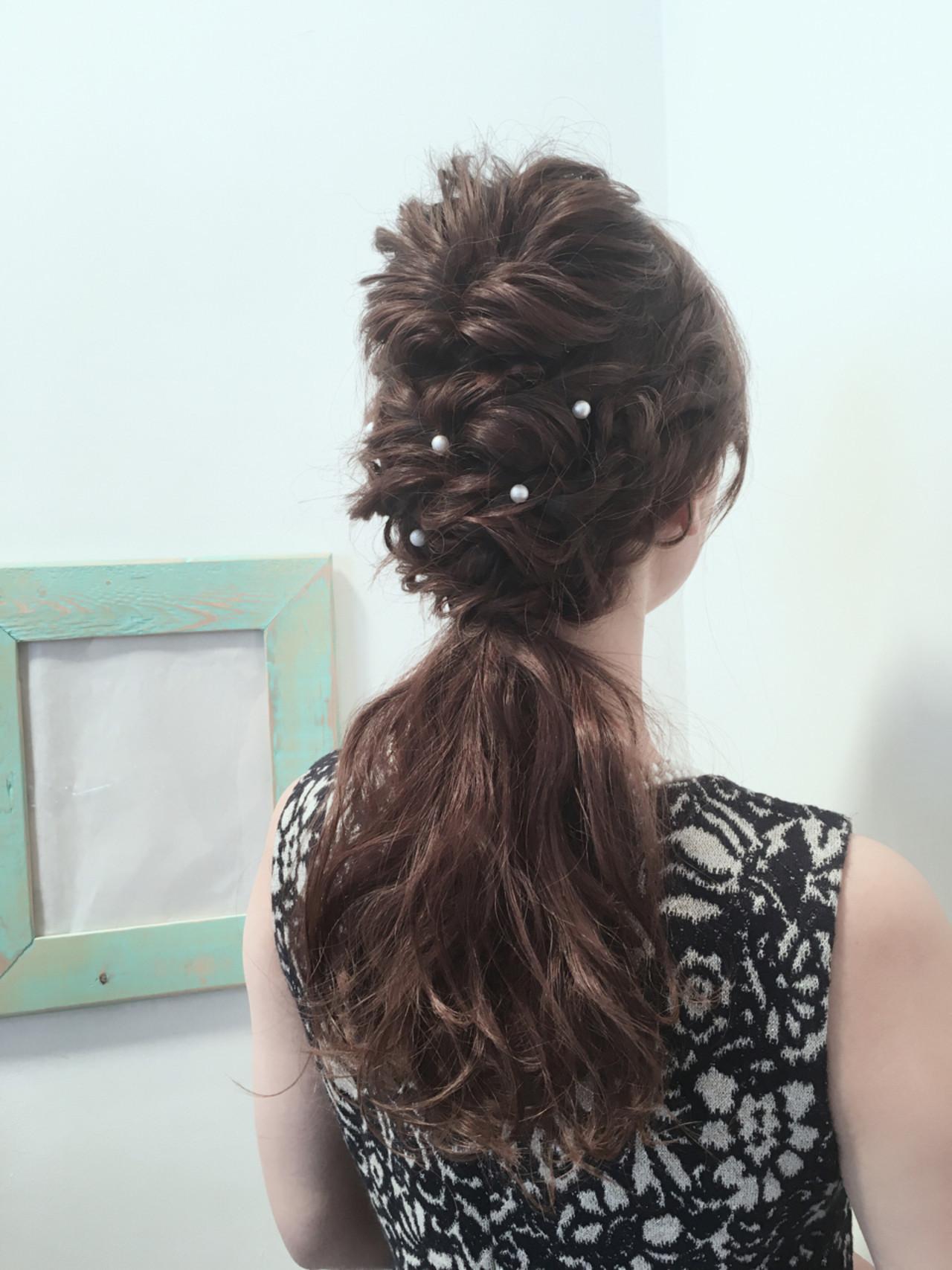 大人かわいい 編み込み ヘアアレンジ ロング ヘアスタイルや髪型の写真・画像