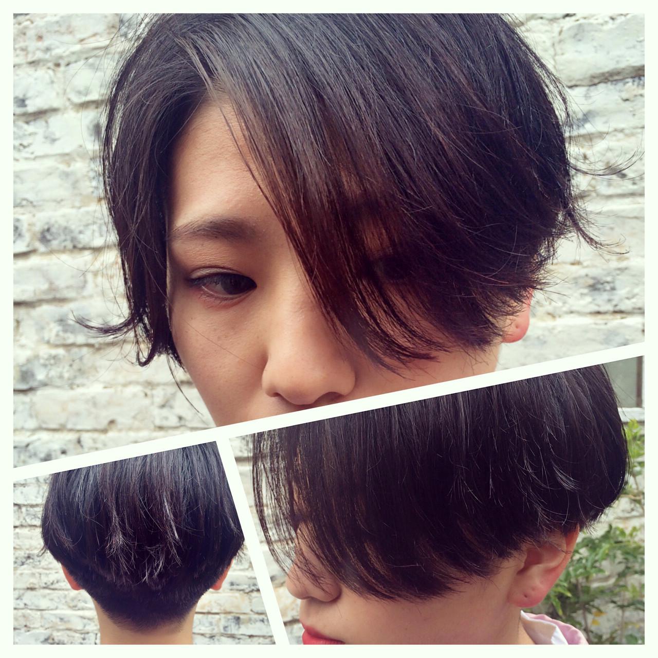 刈り上げ ショート 前下がり 黒髪 ヘアスタイルや髪型の写真・画像