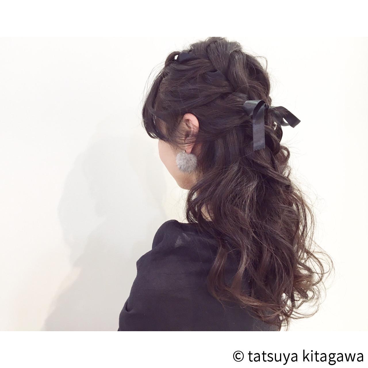 ハーフアップ ロング 外国人風 ゆるふわ ヘアスタイルや髪型の写真・画像
