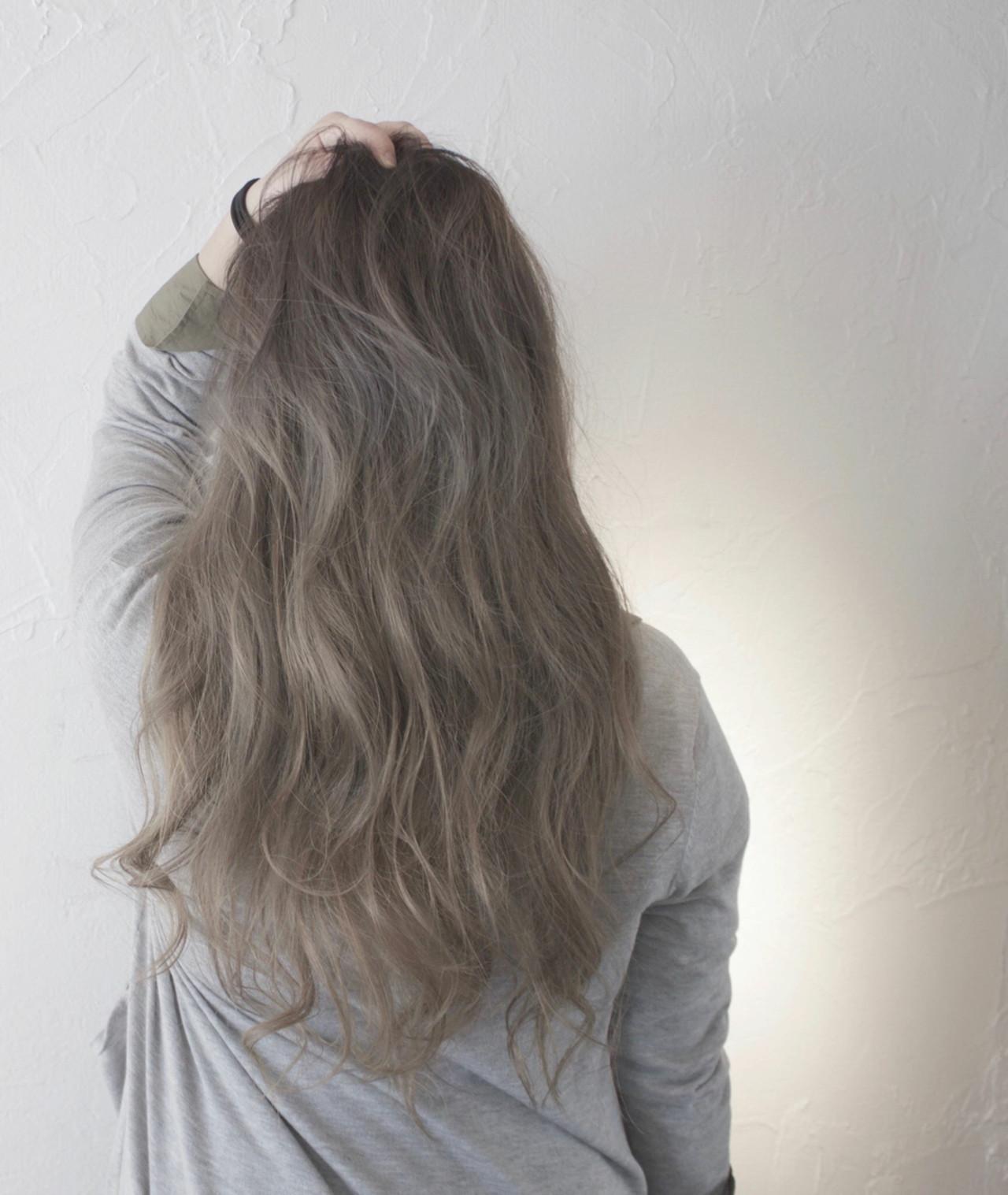ロング ストリート アッシュ ヘアスタイルや髪型の写真・画像