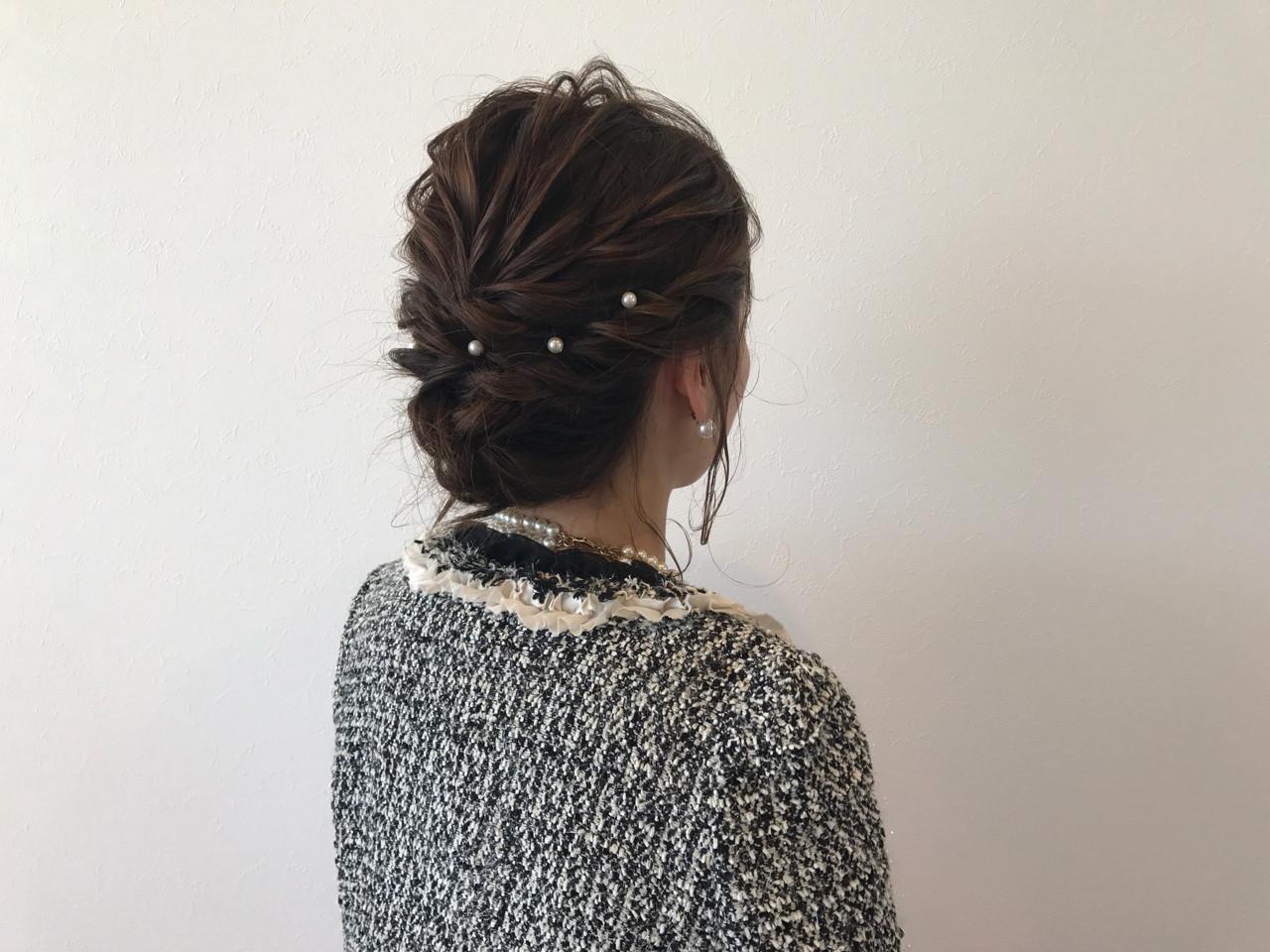 フェミニン ヘアアレンジ ボブ シニヨン ヘアスタイルや髪型の写真・画像