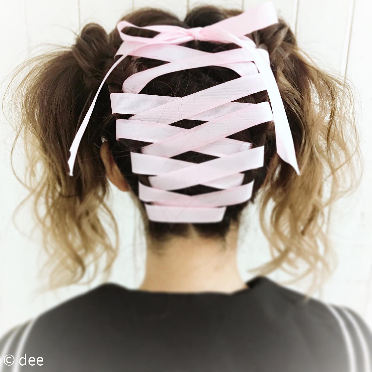 ツインテール ハロウィン ロング ヘアアレンジ ヘアスタイルや髪型の写真・画像