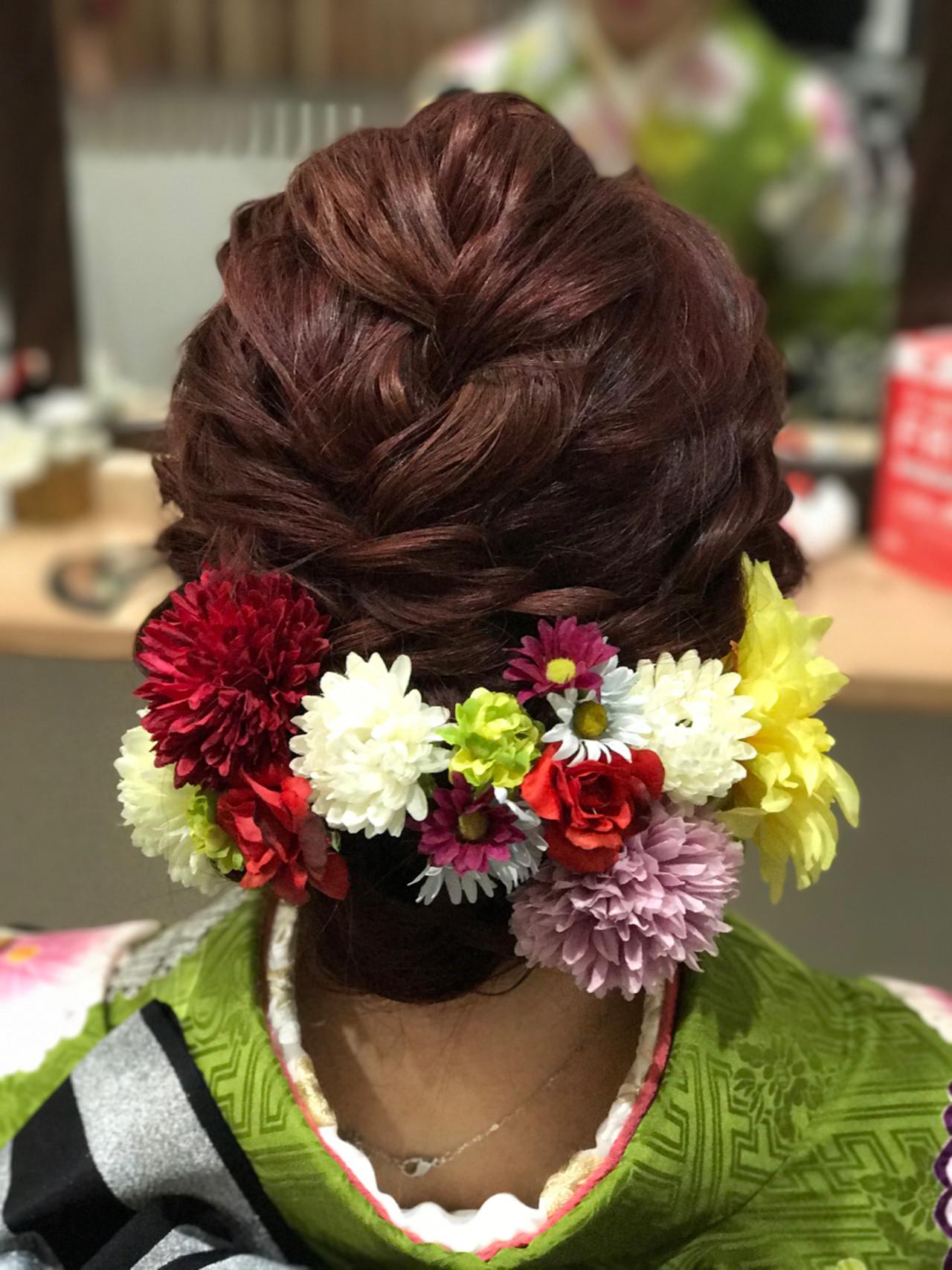 シニヨン ゆるふわ ブライダル セミロング ヘアスタイルや髪型の写真・画像