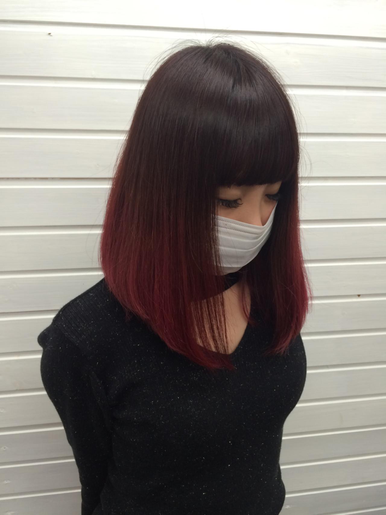 ピンク 黒髪 カラートリートメント ミディアム ヘアスタイルや髪型の写真・画像
