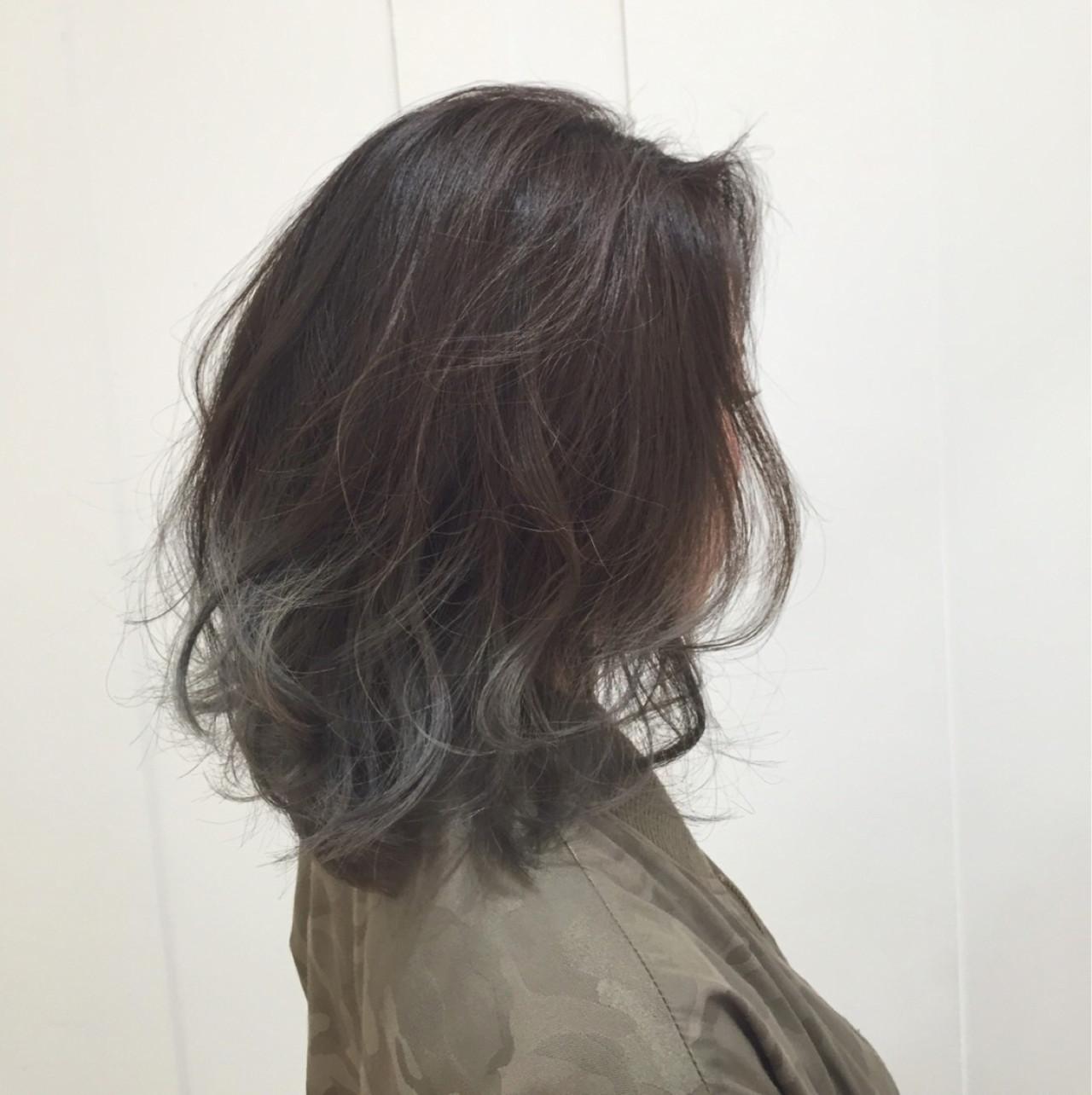 モード グレージュ アッシュグラデーション グラデーションカラー ヘアスタイルや髪型の写真・画像