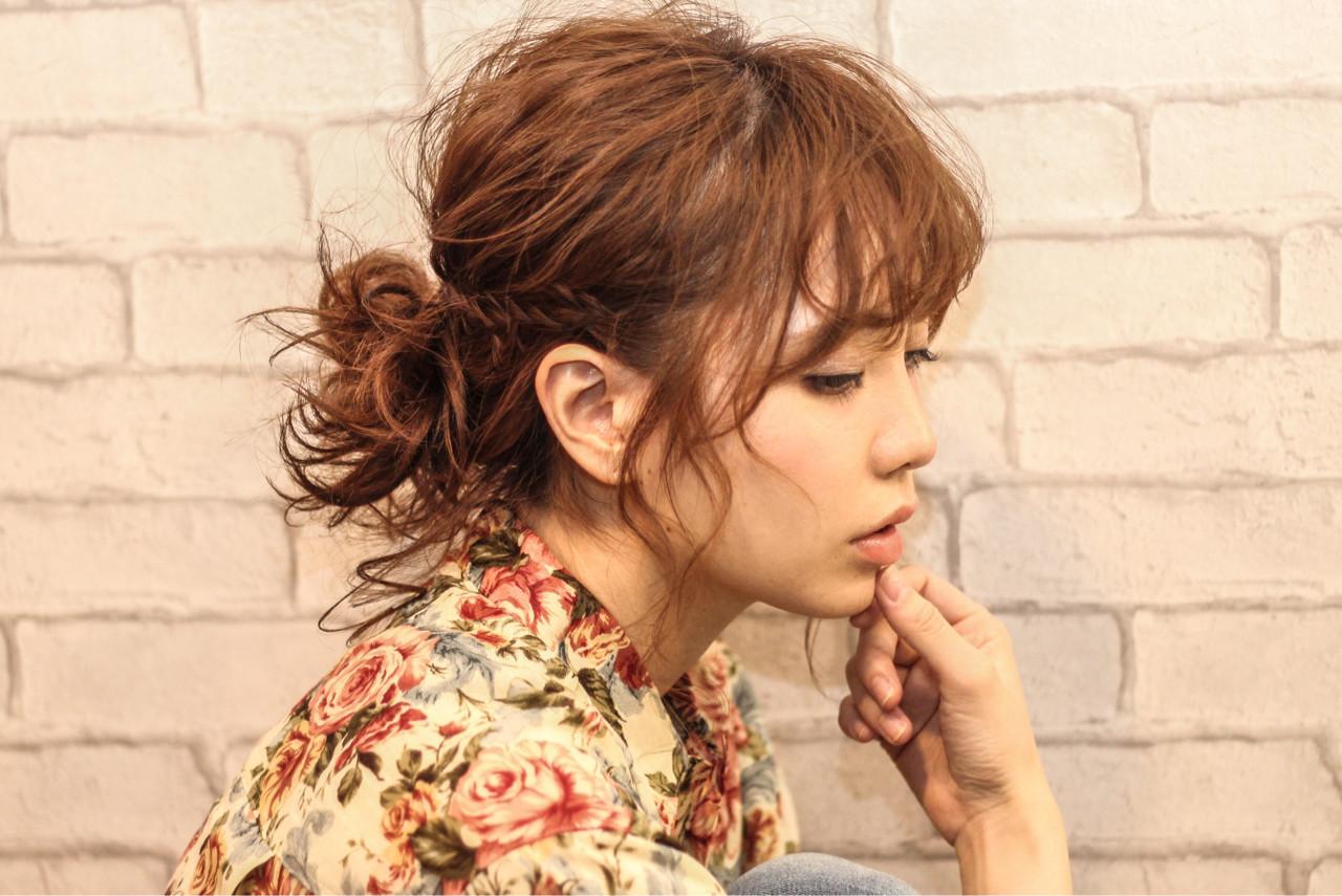 メッシーバン ミディアム ショート ポニーテール ヘアスタイルや髪型の写真・画像