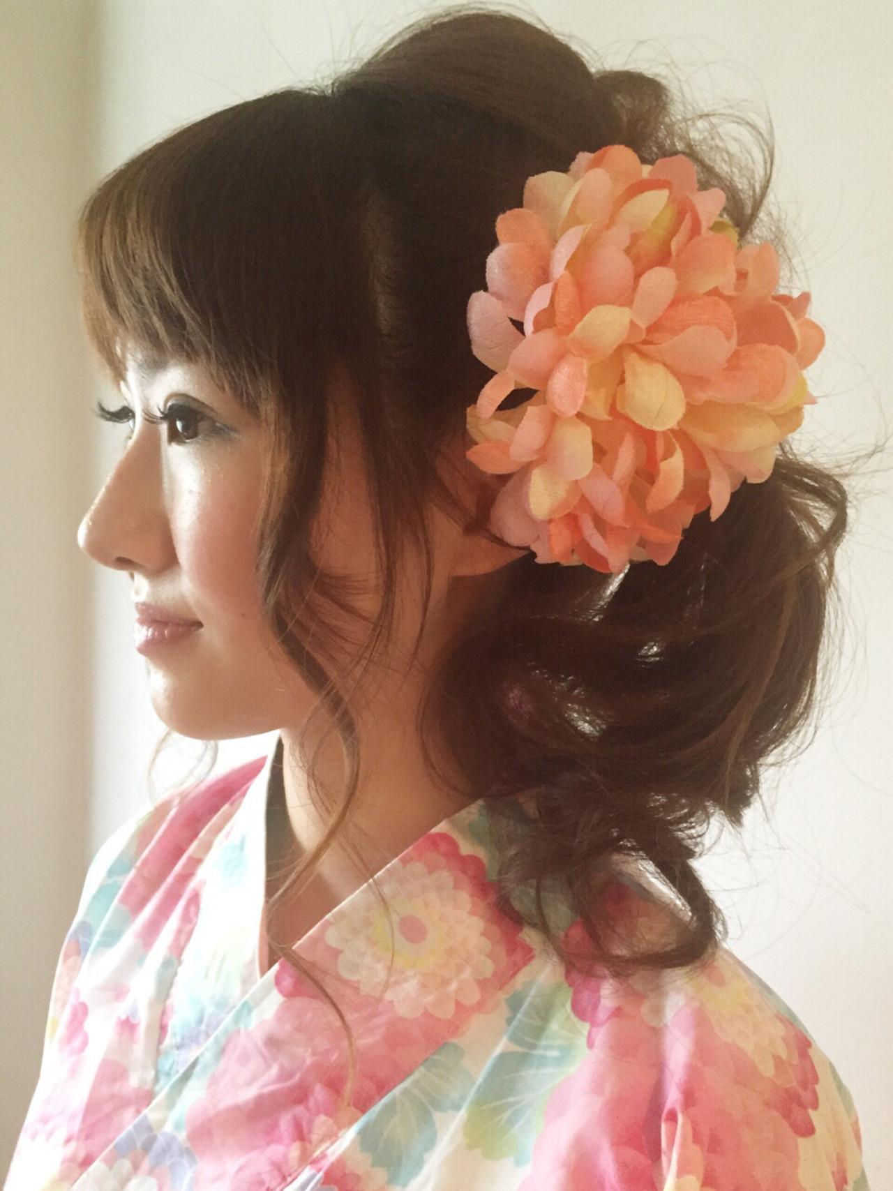 ヘアアレンジ ロング 夏 和装 ヘアスタイルや髪型の写真・画像