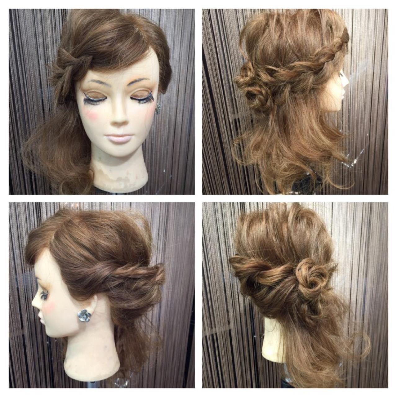 セミロング ヘアアレンジ パーティ ロープ編み ヘアスタイルや髪型の写真・画像