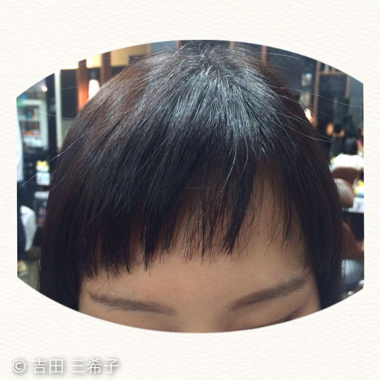 前髪パッツン オン眉 ガーリー 前髪アレンジ ヘアスタイルや髪型の写真・画像