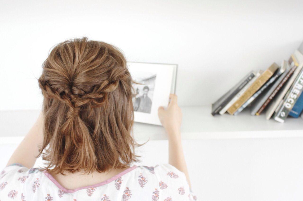 ナチュラル ハーフアップ ルーズ ハイライト ヘアスタイルや髪型の写真・画像