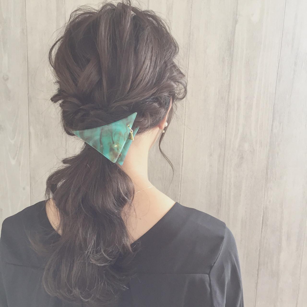 大人女子 ヘアアレンジ 三角クリップ ショート ヘアスタイルや髪型の写真・画像