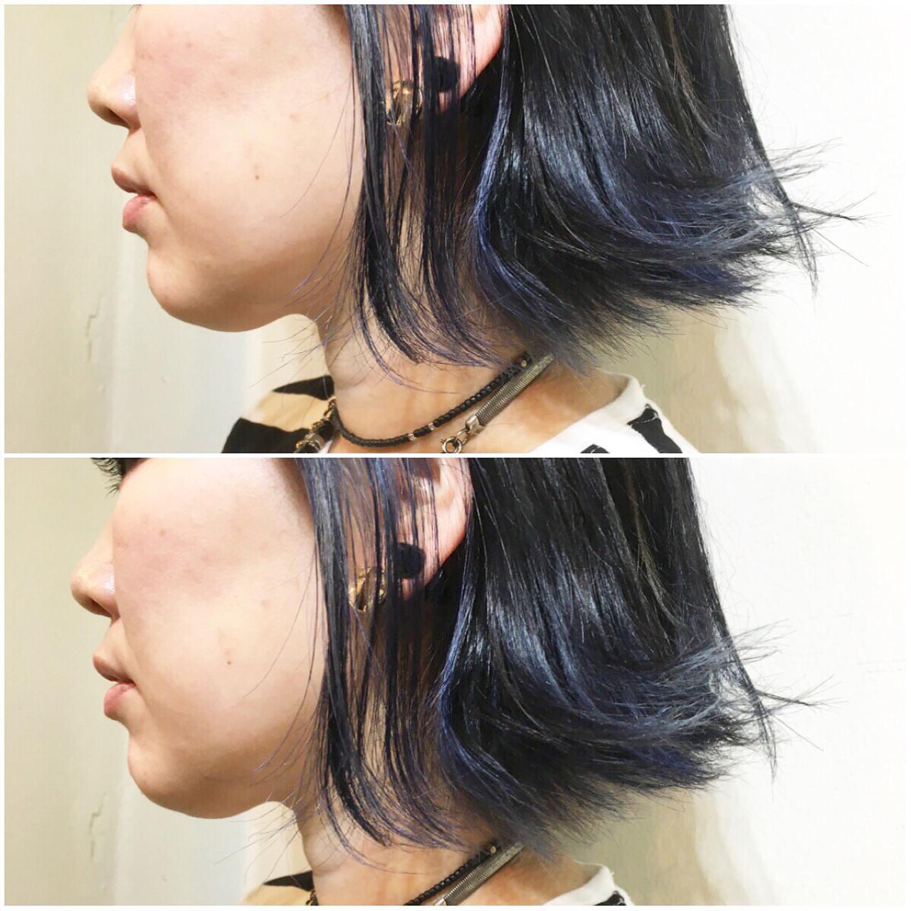 ブルーアッシュ インナーカラー ストリート アッシュ ヘアスタイルや髪型の写真・画像