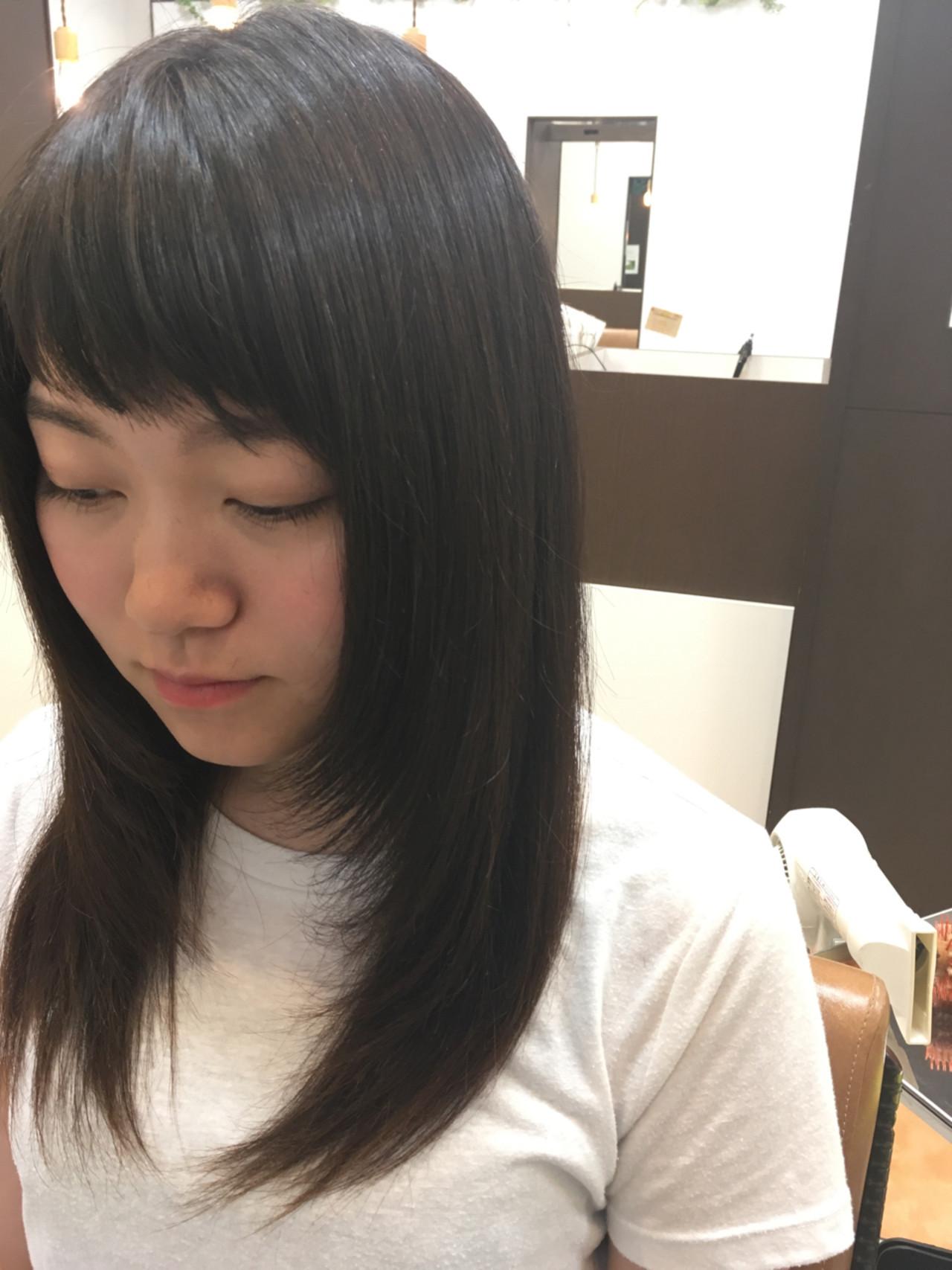アッシュ ショートバング 黒髪 ロング ヘアスタイルや髪型の写真・画像