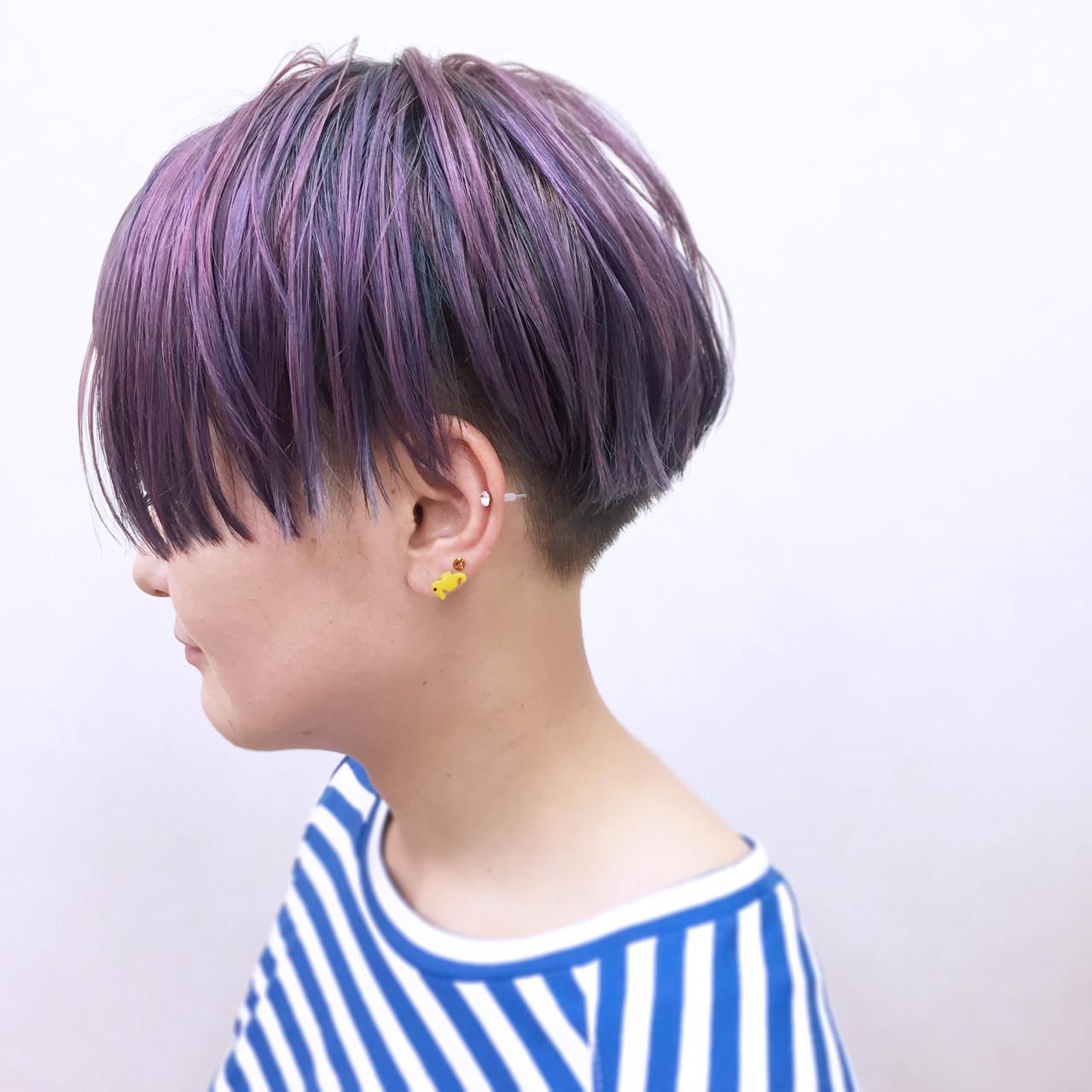 グラデーションカラー ショート ハイトーン レッド ヘアスタイルや髪型の写真・画像