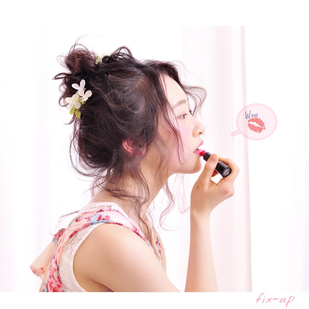 外国人風 ミディアム 簡単ヘアアレンジ ゆるふわ ヘアスタイルや髪型の写真・画像