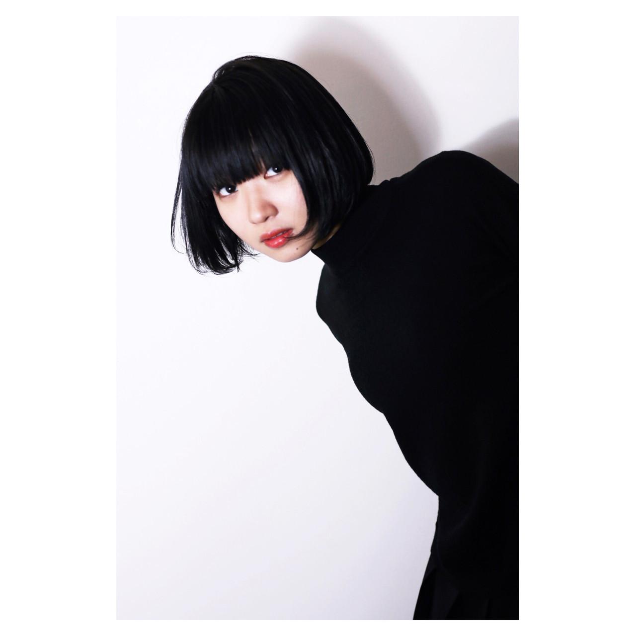 モード 黒髪 ボブ ワンレングス ヘアスタイルや髪型の写真・画像