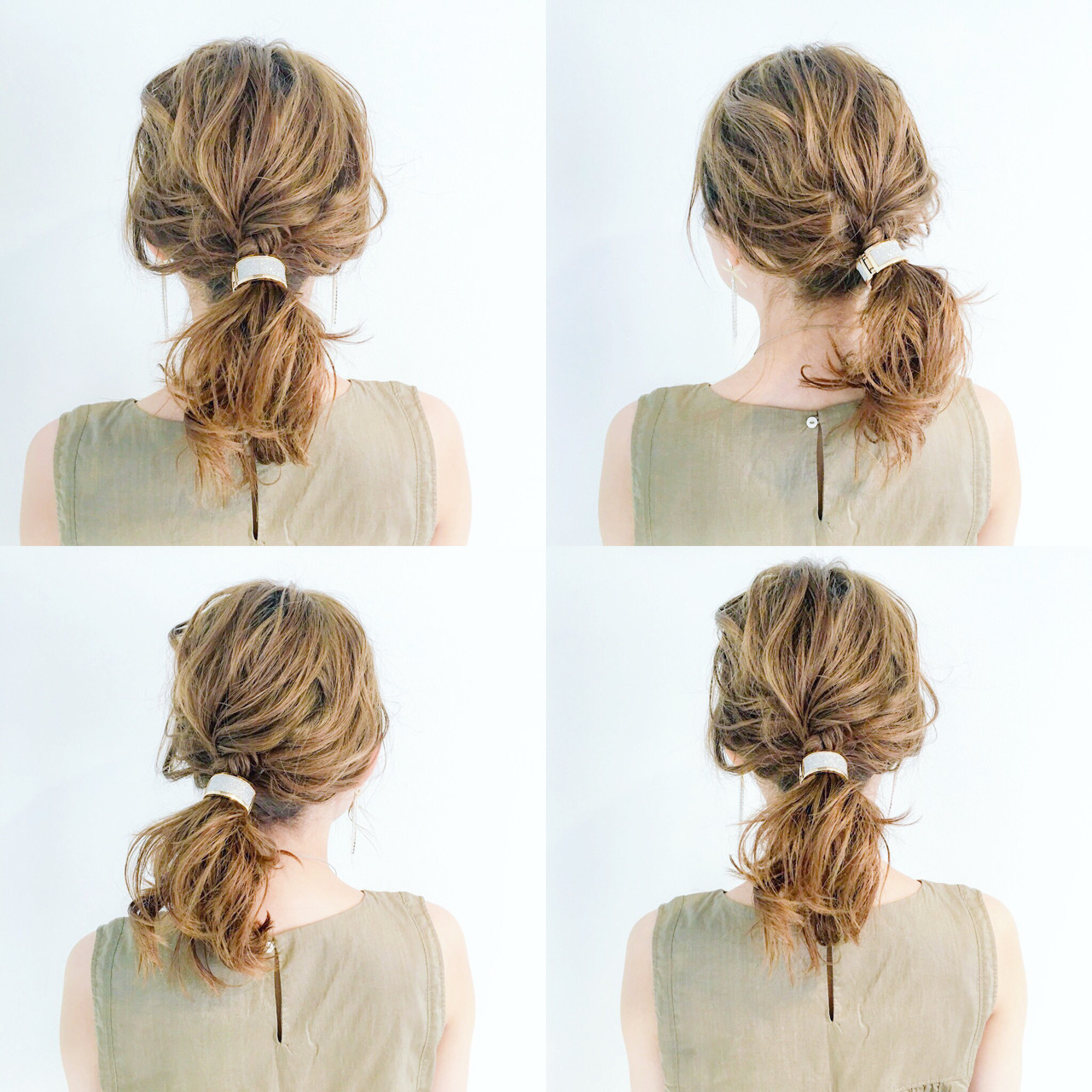 フェミニン ヘアアクセ セミロング オフィス ヘアスタイルや髪型の写真・画像