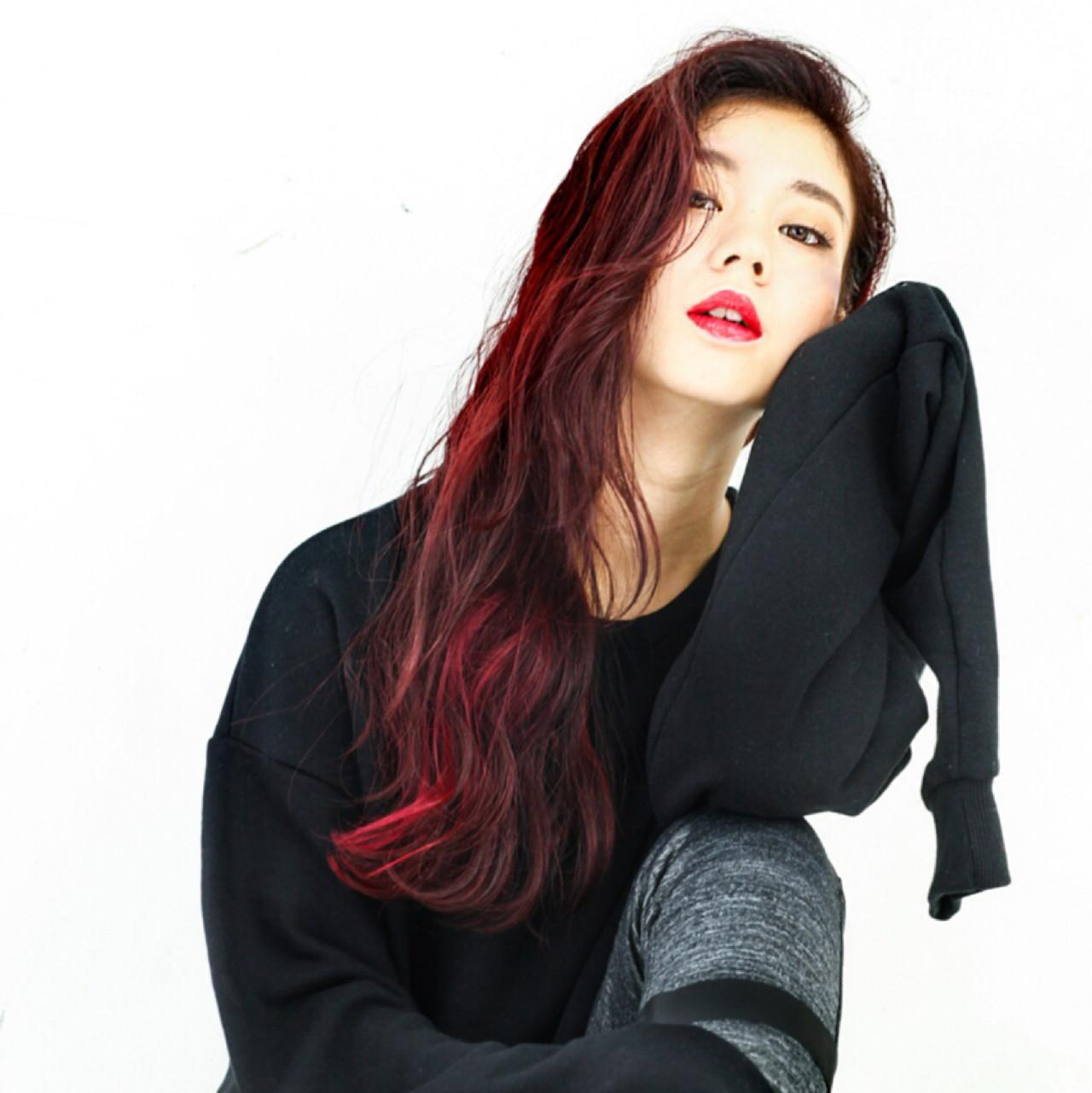 前髪あり ロング レッド ピンク ヘアスタイルや髪型の写真・画像