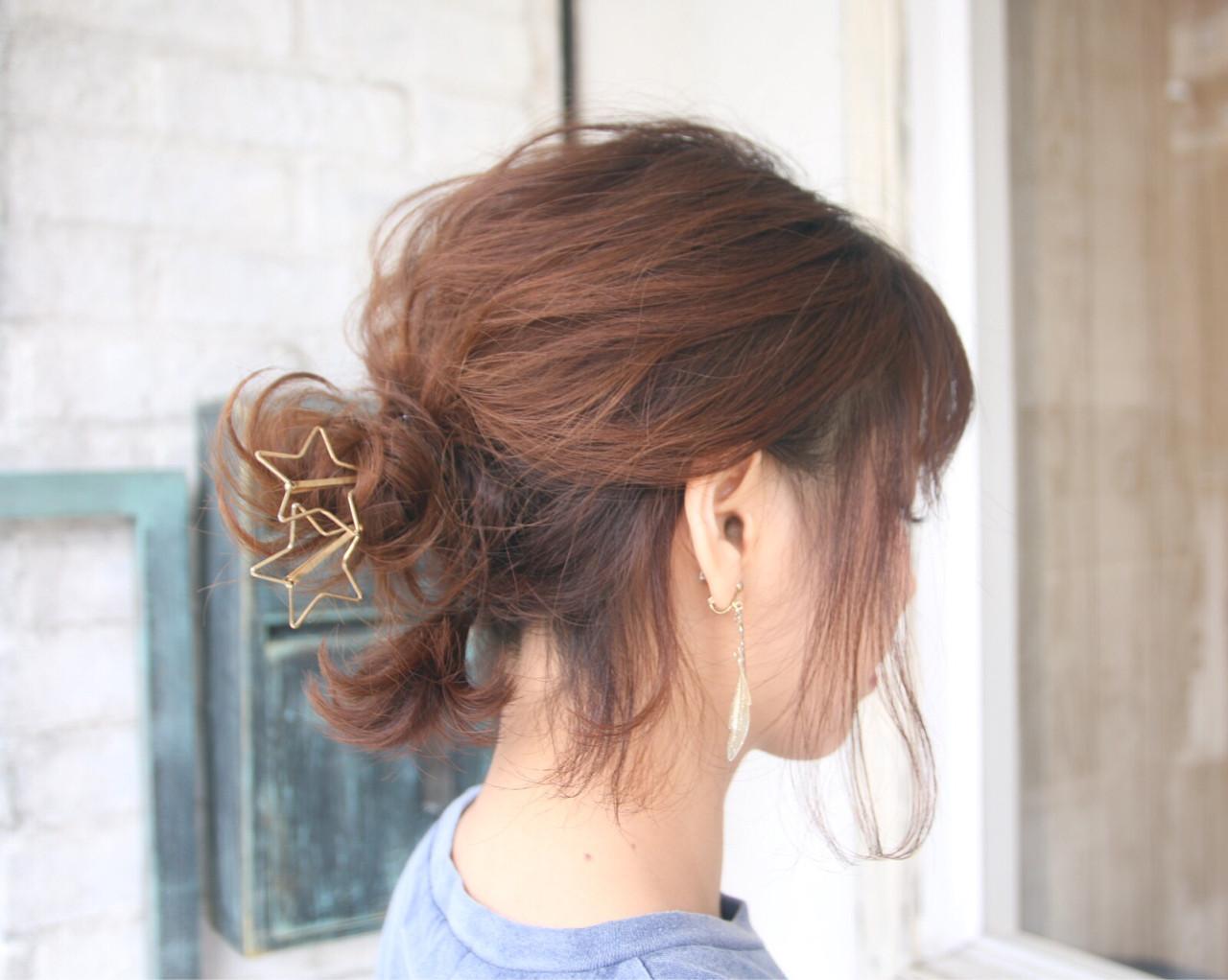 ヘアアレンジ デート ショート お団子 ヘアスタイルや髪型の写真・画像