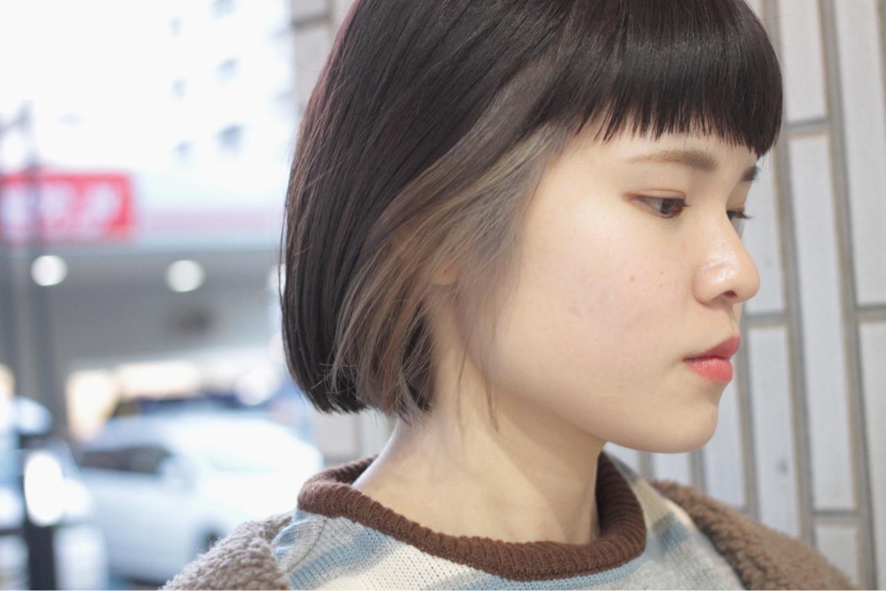 アッシュグレージュ ヘアワックス インナーカラー モード ヘアスタイルや髪型の写真・画像