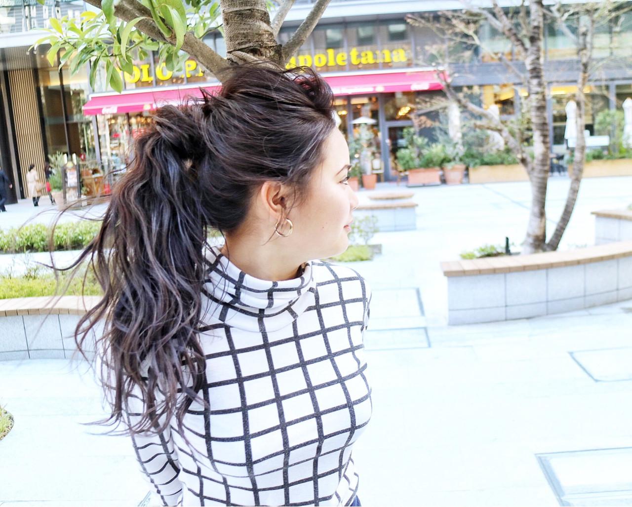 ポニーテール デート ロング エレガント ヘアスタイルや髪型の写真・画像