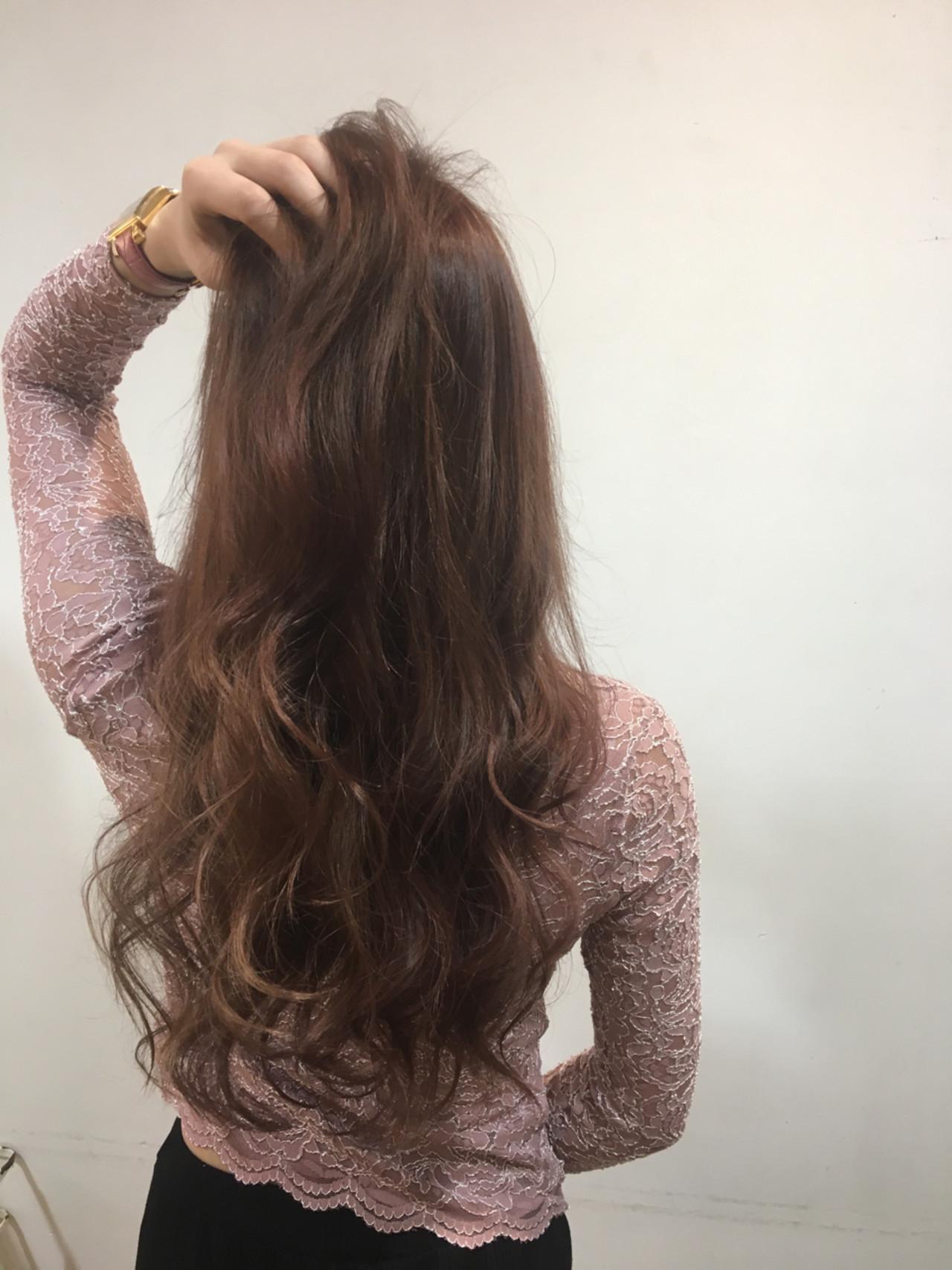 グラデーションカラー フェミニン レイヤーカット ピンク ヘアスタイルや髪型の写真・画像