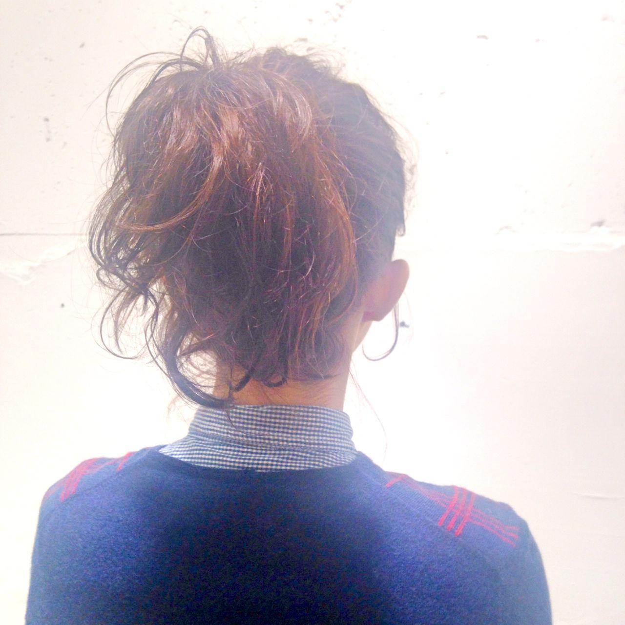 ナチュラル ポニーテール ミディアム ヘアアレンジ ヘアスタイルや髪型の写真・画像