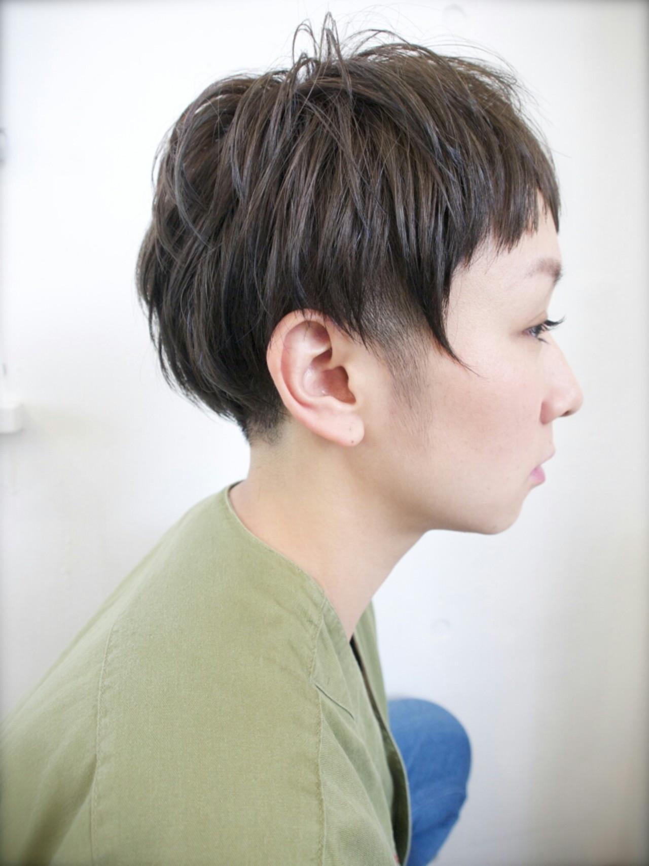 ハイライト ショート 前髪あり アッシュ ヘアスタイルや髪型の写真・画像
