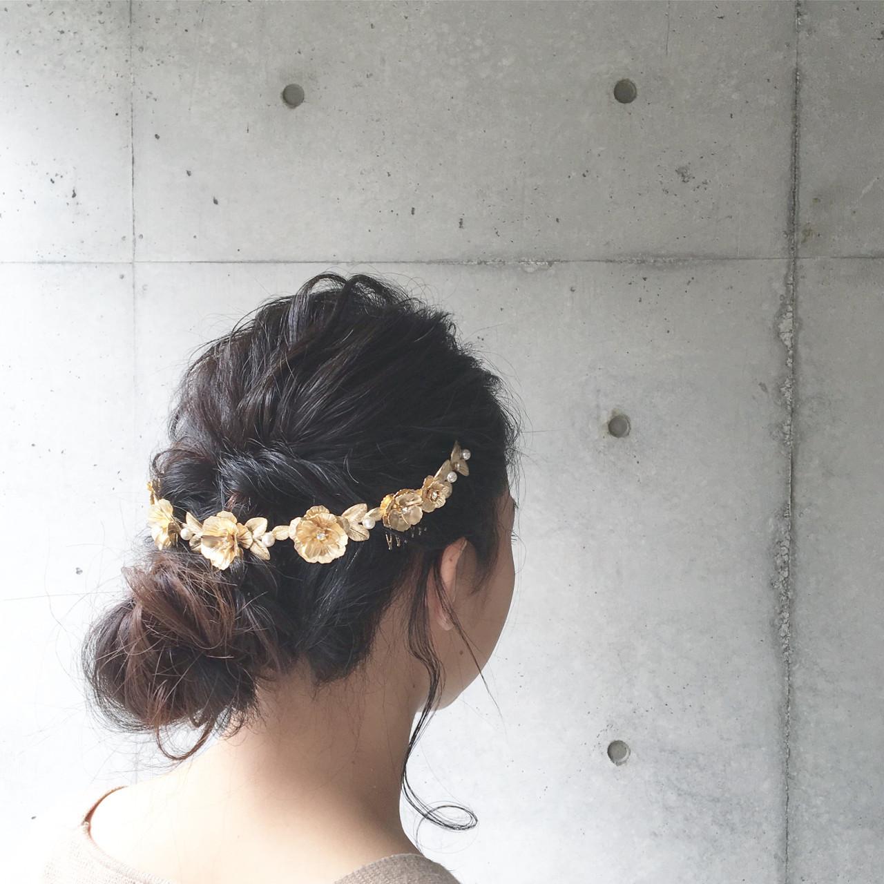 シニヨン セミロング 上品 エレガント ヘアスタイルや髪型の写真・画像