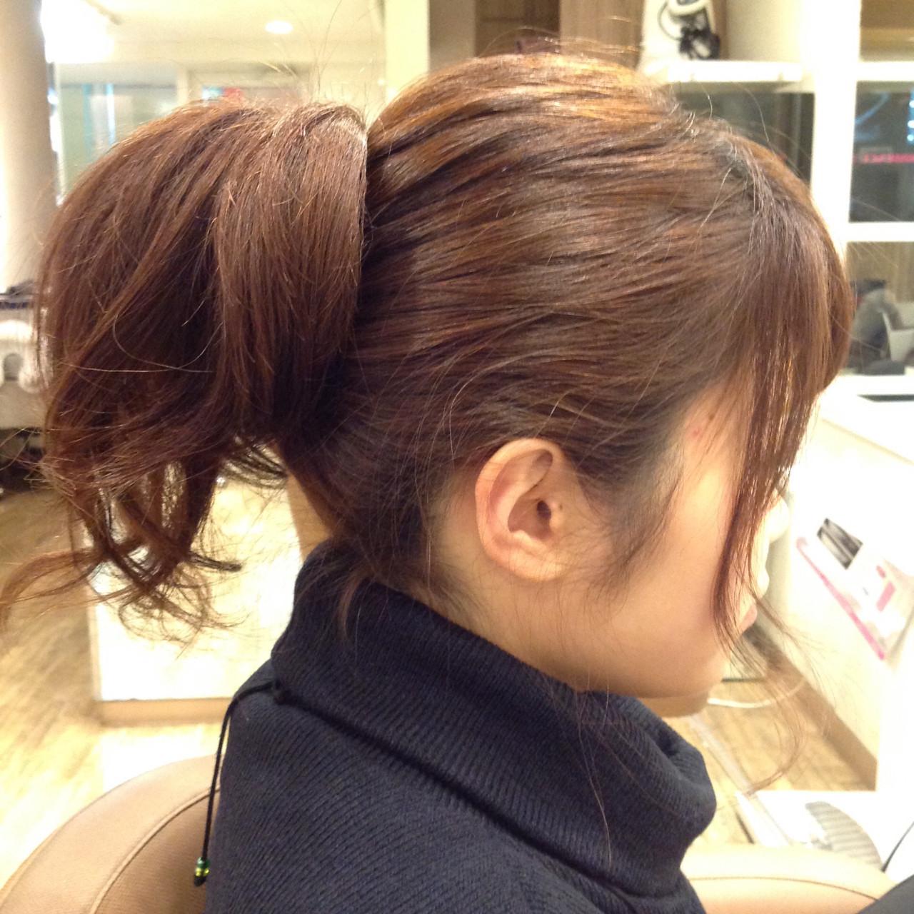逆りんぱ 簡単ヘアアレンジ 大人かわいい ミディアム ヘアスタイルや髪型の写真・画像