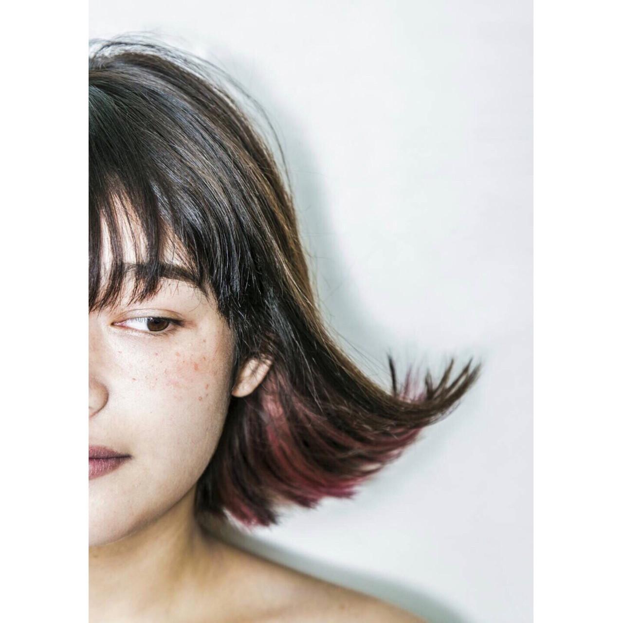 ボブ ピンク ガーリー インナーカラー ヘアスタイルや髪型の写真・画像