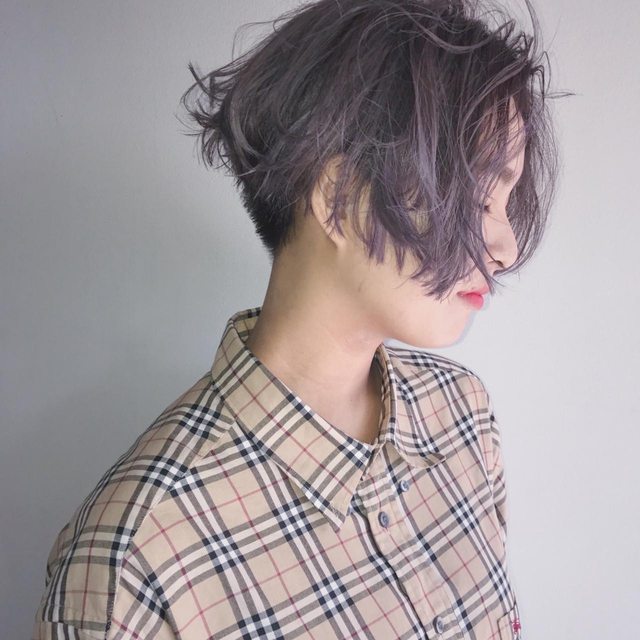 ボブ ハイライト インナーカラー ストリート ヘアスタイルや髪型の写真・画像