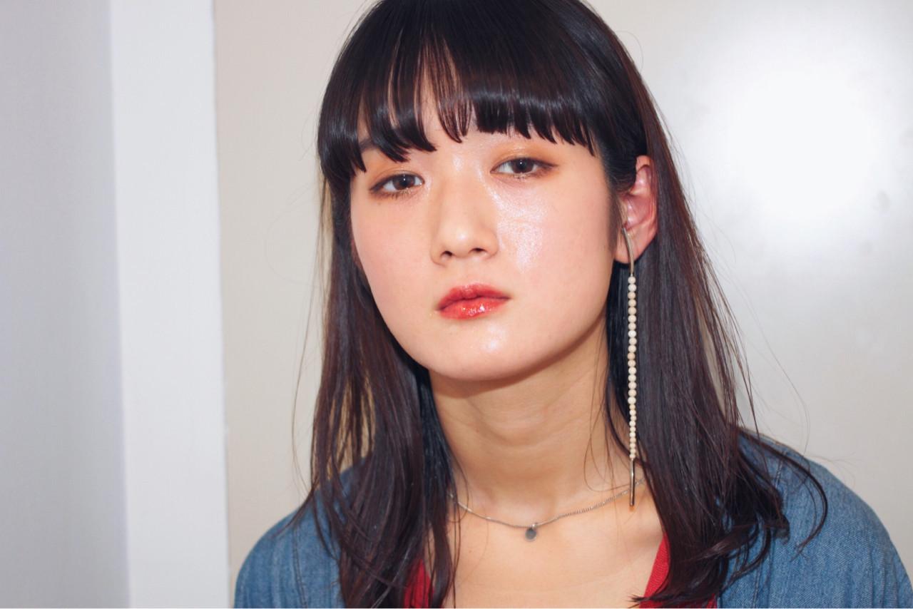 ロング モード 黒髪 ウェットヘア ヘアスタイルや髪型の写真・画像