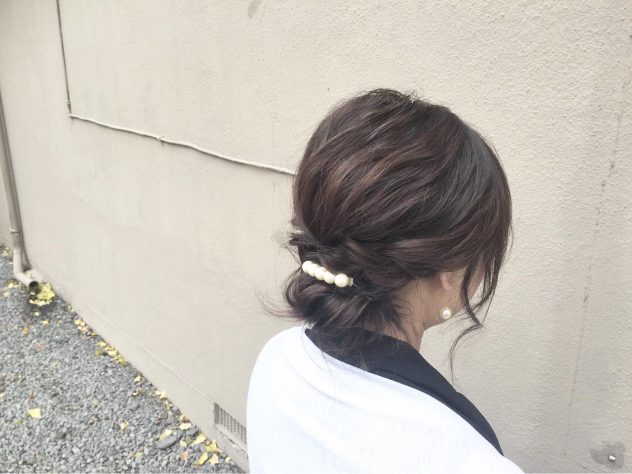 大人女子 ヘアアクセ 簡単ヘアアレンジ ショート ヘアスタイルや髪型の写真・画像