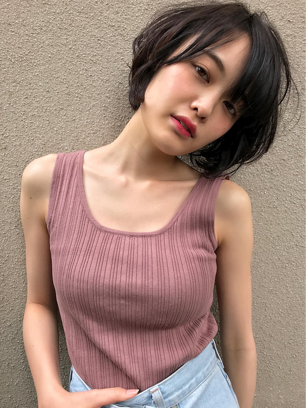夏 透明感 黒髪 春 ヘアスタイルや髪型の写真・画像