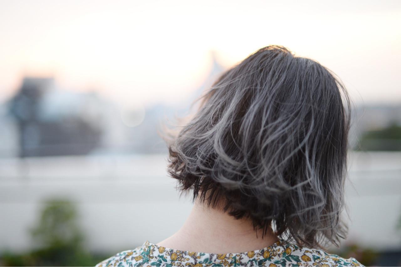 ストリート 外ハネ ボブ 暗髪 ヘアスタイルや髪型の写真・画像