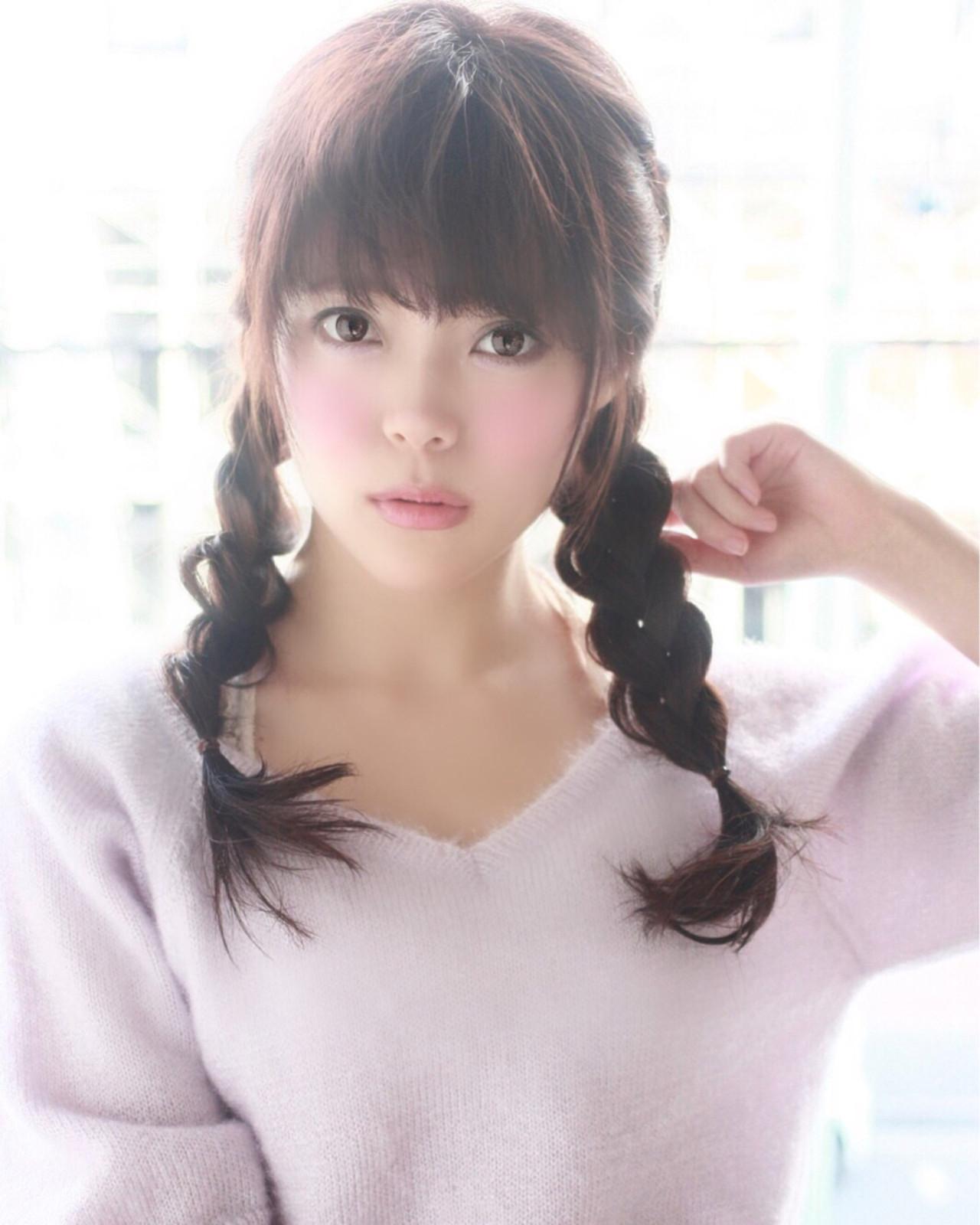 暗髪 モテ髪 愛され 三つ編み ヘアスタイルや髪型の写真・画像