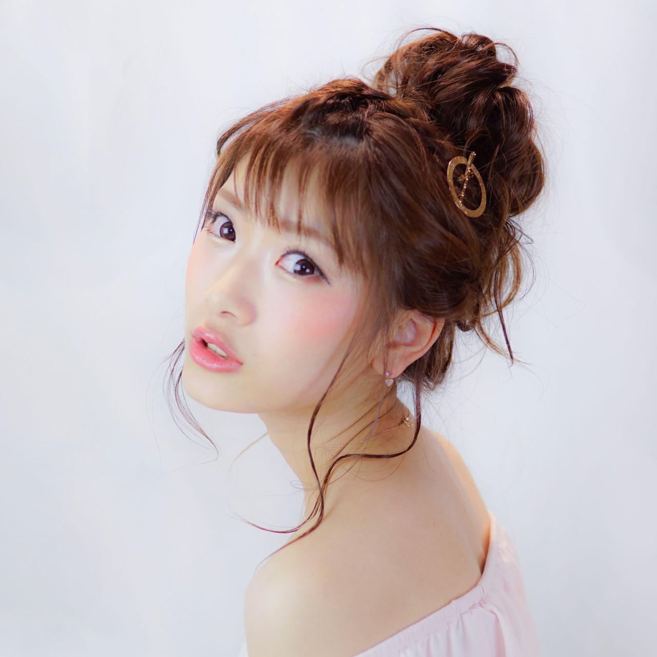 セミロング 簡単ヘアアレンジ 夏 ショート ヘアスタイルや髪型の写真・画像
