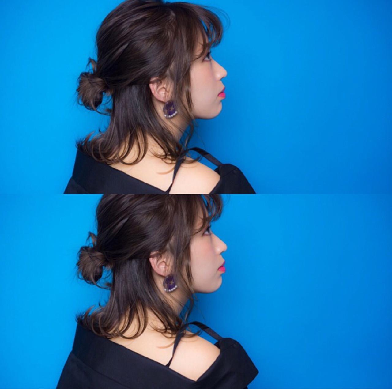 イルミナカラー ハーフアップ ボブ フェミニン ヘアスタイルや髪型の写真・画像