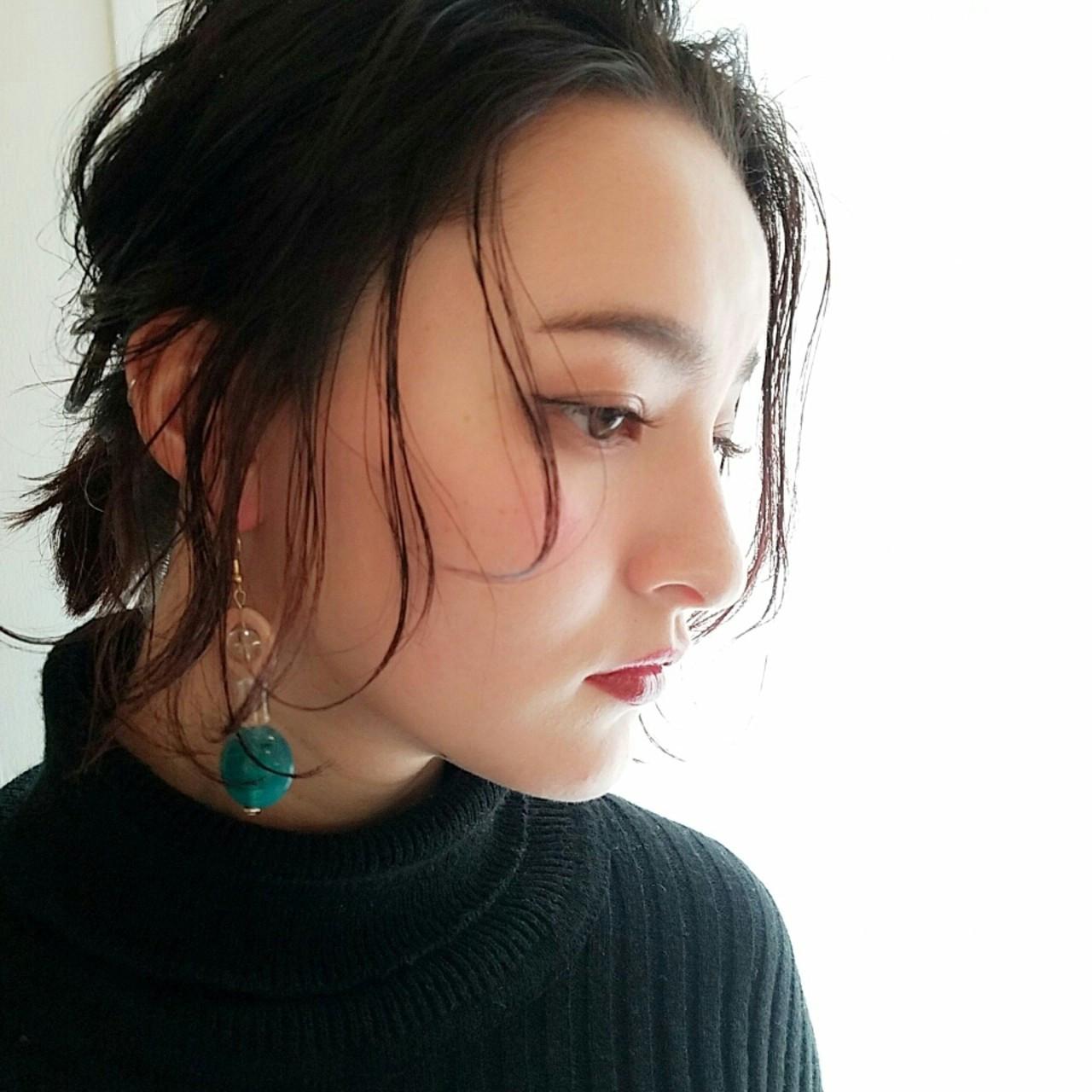 くるりんぱ ショート ミディアム ヘアアレンジ ヘアスタイルや髪型の写真・画像