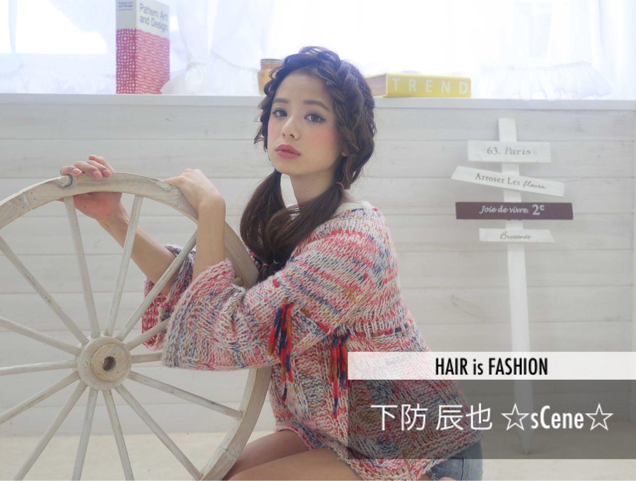 モード ウェーブ 三つ編み ヘアアレンジ ヘアスタイルや髪型の写真・画像