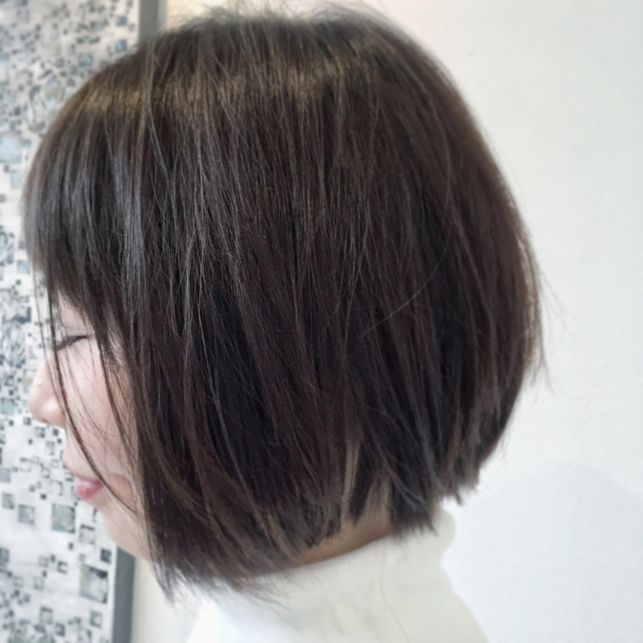 アッシュ グレージュ ショート ナチュラル ヘアスタイルや髪型の写真・画像