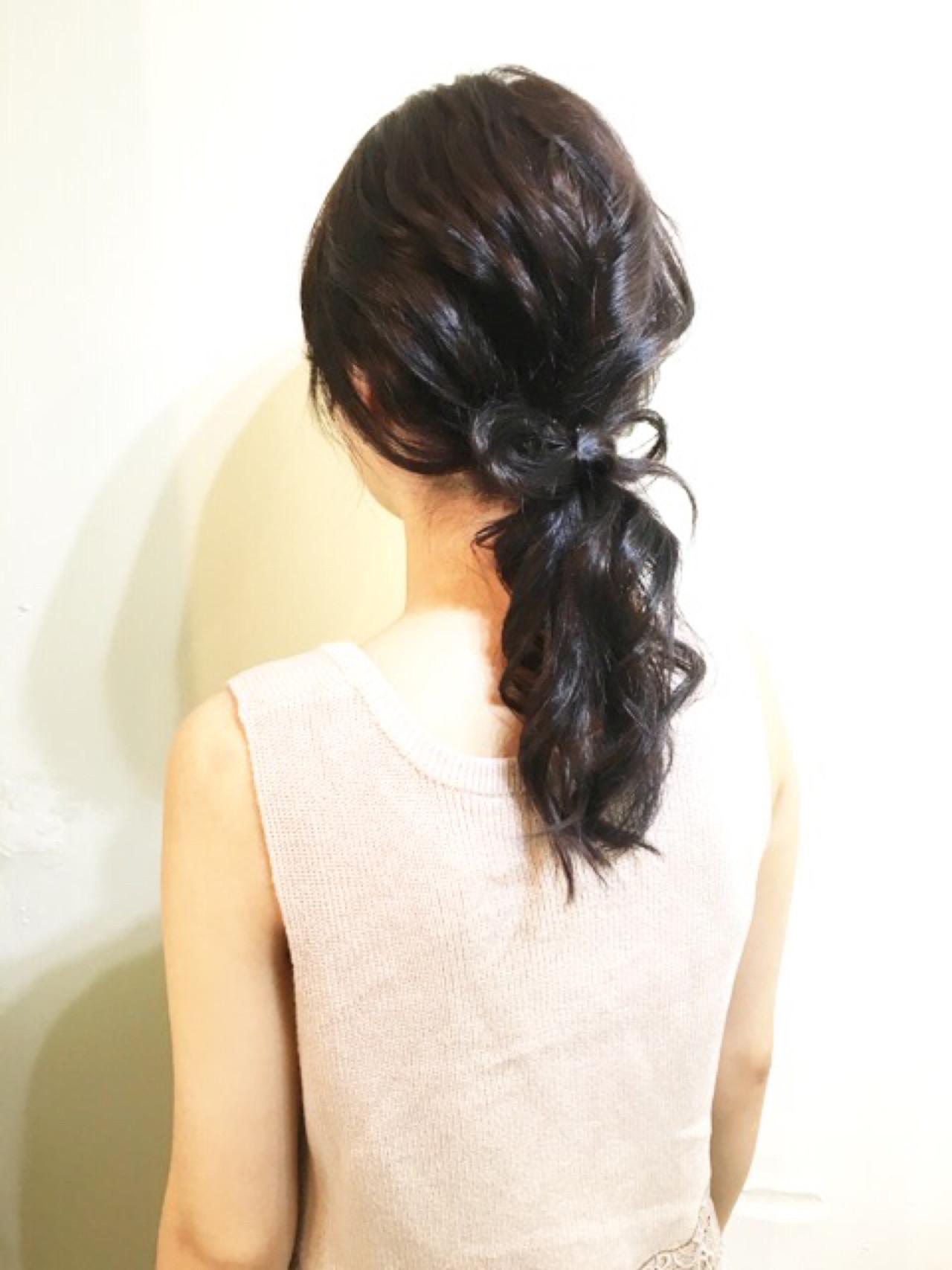 ミディアム ローポニーテール ヘアアレンジ ポニーテール ヘアスタイルや髪型の写真・画像